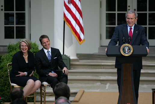Secretary of Education Margaret Spellings and Mike Geisen, the 2008 National Teacher of the Year, break out in laughter as President George W. Bush delivers remarks during ceremonies in the Rose Garden Wednesday, April 30, 2008, honoring the country's top educators. White House photo by Shealah Craighead