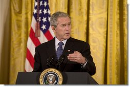 "President George W. Bush delivers remarks on the 57th anniversary of the National Day of Prayer Thursday, May 1, 2008, in the East Room of the White House. Said the President, ""On this day, Americans come together to thank our Creator for our nation's many blessings. We are a blessed nation. And on this day, we celebrate our freedoms, particularly the freedom to pray in public and the great diversity of faith found in America. I love being the President of a country where people feel free to worship as they see fit. And I remind our fellow citizens, if you choose to worship or not worship, and no matter how you worship, we're all equally Americans.""  White House photo by Joyce N. Boghosian"
