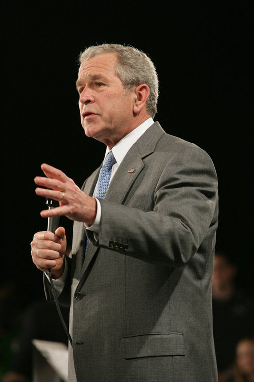 President George W. Bush gestures as he addresses his remarks on the economy Friday, May 2, 2008, during his visit to World Wide Technology, Inc. in Maryland Heights, Mo. White House photo by Chris Greenberg