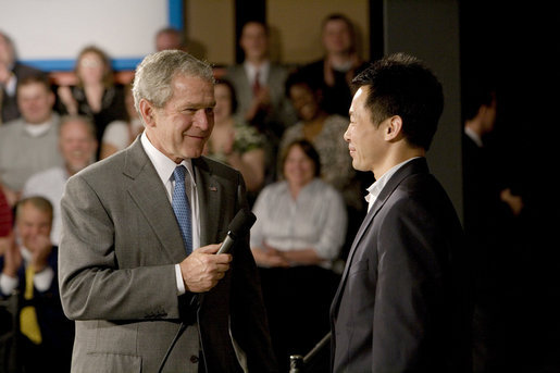President George W. Bush takes a question from the audience following his remarks on the economy Friday, May 2, 2008, during his visit to World Wide Technology, Inc. in Maryland Heights, Mo. White House photo by Chris Greenberg