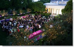 Guests are seen in the Rose Garden at a dinner in honor of Cinco de Mayo hosted by President George W. Bush and Mrs. Laura Bush Monday, May 5, 2008, at the White House. White House photo by Chris Greenberg