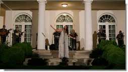 Singer Shaila Durcal and the Mariachi Campanas de America entertain President George W. Bush, Laura Bush, and their guests in the Rose Garden Monday evening, May 5, 2008, during a social dinner at the White House in honor of Cinco de Mayo. White House photo by Chris Greenberg