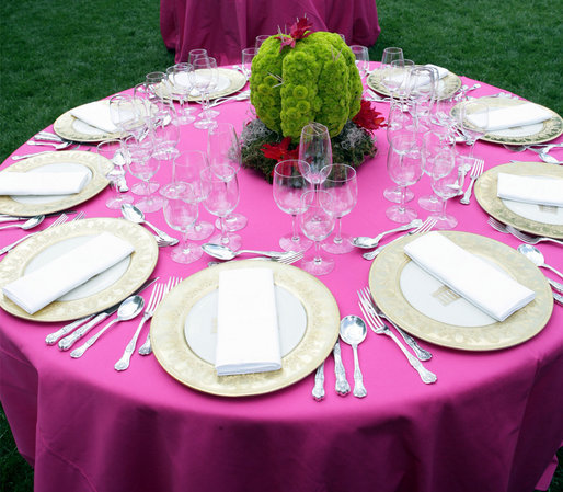 A table is set for the dinner in honor of Cinco de Mayo hosted by President George W. Bush and Mrs. Laura Bush in the Rose Garden Monday, May 5, 2008, at the White House. White House photo by Chris Greenberg