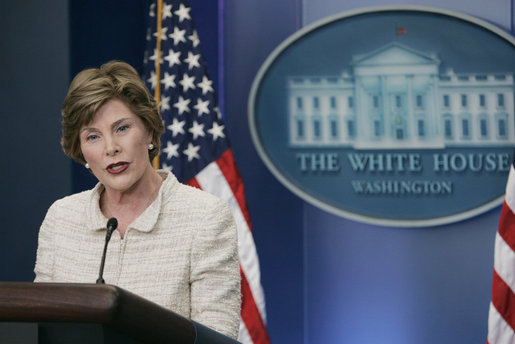 Mrs. Laura Bush addresses reporters in the James S. Brady Press Briefing Room Monday, May 5, 2008 at the White House, urging the Burmese government to accept the humanitarian assistance being offered by the United States to the people of Burma in the aftermath of the destruction caused by Cyclone Nargis. White House photo by Patrick Tierney