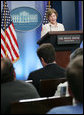 Mrs. Laura Bush addresses reporters in the James S. Brady Press Briefing Room Monday, May 5, 2008 at the White House, on the humanitarian assistance being offered by the United States to the people of Burma in the aftermath of the destruction caused by Cyclone Nargis. White House photo by Shealah Craighead