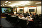 President George W. Bush participates in a video conference meeting in the Situation Room Tuesday, May 6, 2008 with the Independent Civil Society Activists in Cuba. White House photo by Joyce N. Boghosian