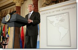 President George W. Bush delivers remarks to the Council of the Americas Wednesday, May 7, 2008, at the Department of State in Washington, D.C. White House photo by Chris Greenberg