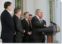 "President George W. Bush delivers a statement Wednesday, May 7, 2008, on the North Portico of the White House after meeting with the House Republican Conference. Of the issues discussed, the President said, ""It's a positive agenda. an agenda that recognizes that we can find the wisdom of the American people in their souls, in their hearts. We listen carefully to what they think, and we respond in a way that meets their needs.""  White House photo by Chris Greenberg"