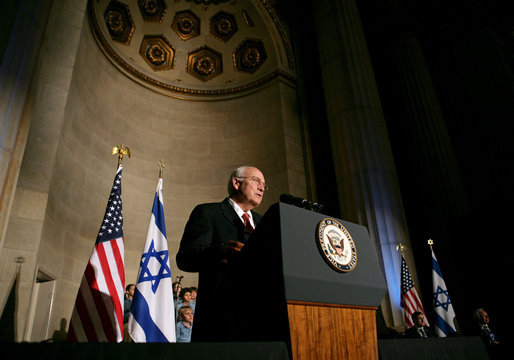 Vice President Dick Cheney delivers remarks, Thursday, May 8, 2008, at a reception celebrating the 60th anniversary of the founding of the state of Israel, hosted by the Israeli Embassy at the Andrew Mellon Auditorium in Washington, D.C. White House photo by David Bohrer