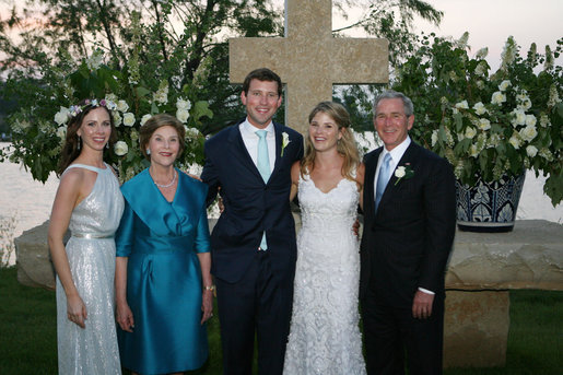 President George W. Bush and Mrs. Laura Bush and Barbara Bush stand with the new Mr. and Mrs. Henry Hager following the young couple's wedding ceremony at Prairie Chapel Ranch Saturday, May 10, 2008, near Crawford, Texas. White House photo by Shealah Craighead