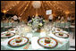 The table setting for Henry and Jenna Hager is shown prior to their wedding reception Saturday, May 10, 2008, at Prairie Chapel Ranch. White House photo by Shealah Craighead