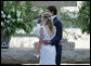 Jenna Bush and Henry Hager stand at the altar, listening to a reader, with the Reverend Kirbyjon Caldwell during their wedding ceremony Saturday, May 10, 2008, at Prairie Chapel Ranch near Crawford, Texas. White House photo by Shealah Craighead