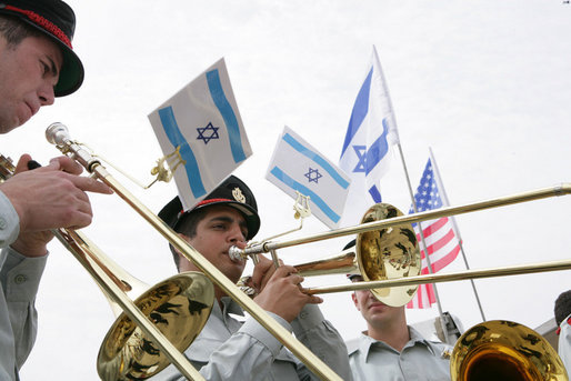 An Israeli band performs during the arrival ceremony Wednesday, May 14, 2008, for President George W. Bush and Mrs. Laura Bush upon their arrival at Ben Gurion International Airport in Tel Aviv. White House photo by Chris Greenberg