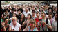 A crowd gathers near the Western Wall in Jerusalem Wednesday, May 14, 2008, in hopes of catching a glimpse of Mrs. Laura Bush as she visits the site during a stop by she and President George W. Bush in Jerusalem. White House photo by Shealah Craighead
