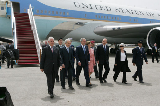 Israeli leaders accompany President George W. Bush and Mrs. Laura Bush as they arrive Wednesday, May 14, 2008, at Ben Gurion International Airport in Tel Aviv. With them are from left: Israeli Chief of Protocol, Ambassador Yitzhak Eldan, President Shimon Peres, Prime Minister Ehud Olmert and Mrs. Aliza Olmert. White House photo by Joyce N. Boghosian