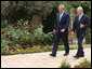 President George W. Bush and President Shimon Peres of Israel walk during their visit Wednesday, May 14, 2008, at the Jerusalem residence of President Peres. White House photo by Joyce N. Boghosian