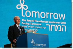 President George W. Bush addresses his remarks during the Israeli Presidential Conference 2008 at the Jerusalem International Convention Center in Jerusalem, Wednesday, May 14, 2008, in celebration of nation's 60th anniversary. White House photo by Joyce N. Boghosian