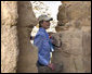 Mrs. Laura Bush pauses during her tour of Masada National Park Thursday, May 15, 2008. The palatial fortress built by King Herod of Judea, sits atop a plateau overlooking the Judean Desert. White House photo by Joyce N. Boghosian