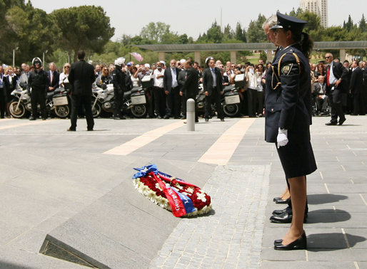 President George W. Bush participates in a wreath-laying ceremony during his visit Thursday, May 15, 2008, to the Knesset in Jerusalem. White House photo by Shealah Craighead
