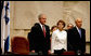 "President George W. Bush stands with Dalia Itzik, Speaker of the Knesset, and Israel's President Shimon Peres on the floor of the Knesset Thursday, May 15, 2008, in Jerusalem. During his remarks to the members of the Israel parliament, President Bush said, ""We gather to mark a momentous occasion. Sixty years ago in Tel Aviv, David Ben-Gurion proclaimed Israel's independence, founded on the ""natural right of the Jewish people to be masters of their own fate."" What followed was more than the establishment of a new country. It was the redemption of an ancient promise given to Abraham and Moses and David -- a homeland for the chosen people Eretz Yisrael."" White House photo by Shealah Craighead"