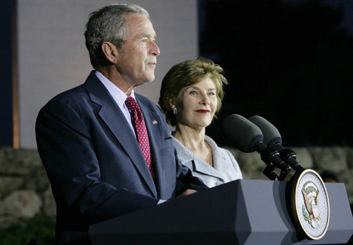 With Mrs. Laura Bush by his side, President George W. Bush delivers remarks at a reception Thursday, May 15, 2008, at the Israel Museum in Jerusalem in honor of the 60th anniversary of the state of Israel. White House photo by Chris Greenberg