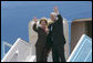 President George W. Bush and Mrs. Laura Bush wave goodbye from Air Force One Friday, May 16, 2008, as they prepared to depart Ben Gurion International Airport en route to Riyadh, Saudi Arabia on the second leg of their three-country, Mideast visit. White House photo by Chris Greenberg