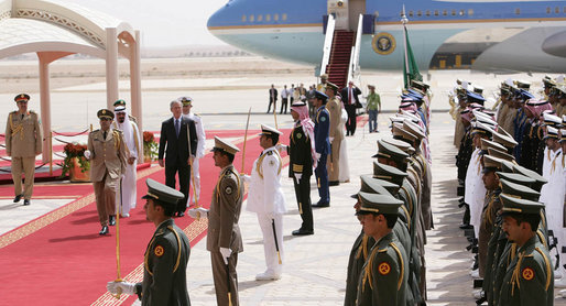 President George W. Bush and King Abdullah bin Abdulaziz review the troops during the arrival ceremonies Friday, May 16, 2008, for the President and Mrs. Laura Bush in Riyadh. White House photo by Chris Greenberg