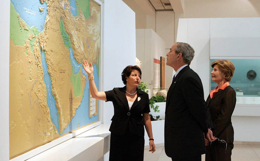 President George W. Bush and Mrs. Laura Bush listen to Director Amanda Weiss as they tour the Bible Lands Museum Jerusalem Friday, May 16, 2008. The museum illustrates the cultures of all the peoples mentioned in the Bible – from Egypt eastwards across the Fertile Crescent to Afghanistan, and from Nubia north to the Caucasian mountains. White House photo by Joyce N. Boghosian