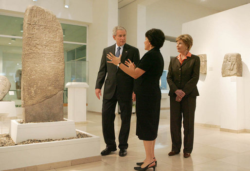 Amanda Weiss, Director of Bible Lands Museum Jerusalem, leads President George W. Bush and Mrs. Laura Bush on a tour of the museum Friday, May 16, 2008. Founded by the late Dr. Elie Borowski, the museum fulfills his goal to assemble as many objects from the biblical period as could be found in order to create an institution of learning – a unique resource of universal stature where people of all faiths would come to learn about biblical history and return to the morals and ethics of the Bible. White House photo by Joyce N. Boghosian
