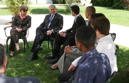 President George W. Bush and Mrs. Laura Bush participate in a roundtable discussion with a group of youths at the Bible Lands Museum Jerusalem Friday, May 16, 2008. Young leaders interested in fostering peace in their country, the youths represented cross cultures, including Jews, Israel Arabs, Palestinians and an immigrant from Ethiopia. White House photo by Joyce N. Boghosian