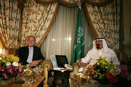 President George W. Bush and the King of Saudi Arabia Abdullah bin Abdulaziz sit for tea prior to dinner, Friday May 16, 2008, in the King's Villa at his Al Janadriyah Ranch in Saudi Arabia. White House photo by Joyce N. Boghosian