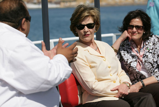 Mrs. Laura Bush and Mrs. Anita McBride, Assistant to the President and Chief of Staff to the First Lady, listen to Mr. Amir Ali, Hurghada Environmental Protection and Conservation Association, as they head out for a coral reefs and ocean conservation tour Saturday, May 17, 2008, in Sharm el Sheikh, Egypt. White House photo by Shealah Craighead