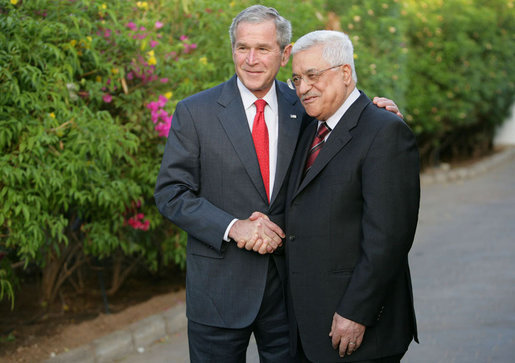 President George W. Bush shakes hands with Palestinian President Mahmoud Abbas Saturday, May 17, 2008, at the conclusion of their meeting with members of the media in Sharm el Sheikh, Egypt. White House photo by Chris Greenberg