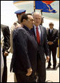 President George W. Bush embraces Egyptian President Hosni Mubarak upon his arrival Saturday, May 17, 2008, to Sharm el Sheikh International Airport in Sharm el Sheikh, Egypt. White House photo by Joyce N. Boghosian