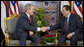 President George W. Bush shakes hands with Egyptian President Hosni Mubarak at their meeting Saturday, May 17, 2008, in Sharm el Sheikh, Egypt. White House photo by Joyce N. Boghosian