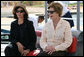 Mrs. Laura Bush sits with Ms. Hilda Arellano, USAID Cairo Mission Director, as they prepare to launch out on a Challenger Boat Tour Saturday, May 17, 2008, off the coast of Sharm El Sheikh, Egypt. White House photo by Shealah Craighead
