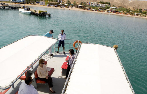 Mrs. Laura Bush is seen as she prepares to leave on the Challenger Boat Tour Saturday, May 17, 2008, off the coast of Sharm El Sheikh, Egypt. White House photo by Shealah Craighead