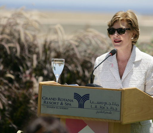 "Mrs. Laura Bush delivers remarks on U.S.-Middle East Partnership for Breast Cancer Awareness and Research Sunday, May 18, 2008, at the Grand Rotana Resort in Sharm El Sheikh, Egypt. Said Mrs. Bush, ""The new U.S.-Middle East Partnership for Breast Cancer Awareness and Research is helping us pass on what we've learned so that more women who are diagnosed with breast cancer in the early stages when the survival chances are greatest."" White House photo by Shealah Craighead"