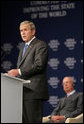 "President George W. Bush speaks before the World Economic Forum on the Middle East Sunday, May 18, 2008, in Sharm El Sheikh, Egypt. The President told his audience, ""I know these are trying times, but the future is in your hands –- and freedom and peace are within your grasp."" White House photo by Chris Greenberg"