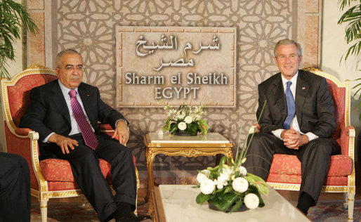President George W. Bush meets with Palestinian Prime Minister Salam Fayyad in Sharm El Sheikh, Egypt, Sunday, May 18, 2008. White House photo by Joyce N. Boghosian