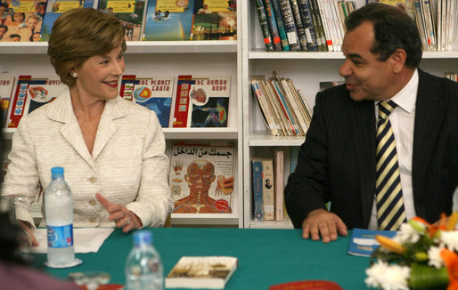 Mrs. Laura Bush smiles as she participates in a Big Read Egypt/U.S. roundtable discussion Sunday, May 18, 2008, with students at the Fayrouz Experimental School for Languages at Sharm El Sheikh. Mrs. Bush told the participants that the Big Read partnership will use literature to enhance understanding of each other's societies and will also awaken the joy of reading in both Egyptians and Americans, particularly young people. Sitting with her is Dr. Yousry Saber Hussein El-Gamal, Minister of Education. White House photo by Shealah Craighead