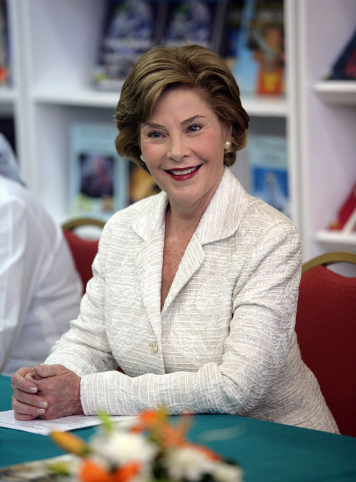Mrs. Laura Bush listens to participants at a Big Read Egypt/U.S. roundtable Sunday, May 18, 2008, in Sharm El Sheikh. The Big Read Egypt/U.S. is an initiative of the U.S. Department of State and the National Endowment for the Arts, in partnership with the Institute of Museum and Library Services, Arts Midwest, and the U.S. Embassy in Cairo. White House photo by Shealah Craighead