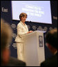 "Mrs. Laura Bush speaks at the Egyptian Education Initiative meeting Sunday, May 18, 2008, at the World Economic Forum – International Congress Centre in Sharm El Sheikh, Egypt. Mrs. Bush told her audience, ""Advances in technology and global communication are opening new markets and expanding opportunities for people around the world. The Egyptian Education Initiative recognizes that improved education is the key to taking advantage of these opportunities."" White House photo by Shealah Craighead"
