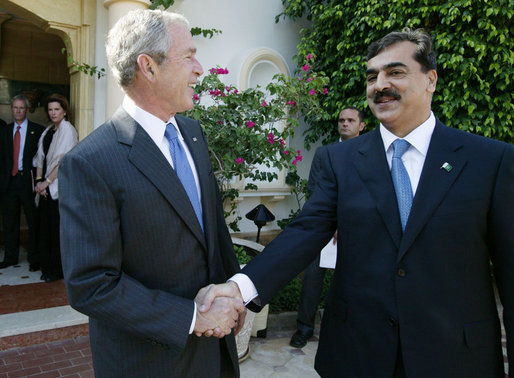 President George W. Bush and the Pakistan Prime Minister Yousaf Raza Gilani shake hands following their meeting Sunday, May 18, 2008, in Sharm El Sheikh, Egypt. White House photo by Joyce N. Boghosian