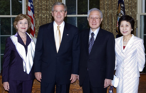 Japan's outgoing Ambassador to the United States, Ryozo Kato, and his wife, Mrs. Hanayo Kato, paid a farewell courtesy call on the President and Mrs. Bush on May 20, 2008. With over six years in Washington, Ambassador Kato is the longest-serving postwar Ambassador to the U.S. from Japan. Ambassador Kato's deep commitment to enhancing U.S.-Japan ties was evident in his staunch support for Japanese contributions to coalition efforts in Iraq and Afghanistan as well as the barbeque the Katos hosted annually since 2003 for U.S. soldiers wounded in Iraq and Afghanistan and their families. The President and Mrs. Bush wished the Katos well upon their return to Japan later this month. White House photo by Joyce N. Boghosian