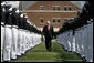 Vice President Dick Cheney walks through an honor cordon of U.S. Coast Guard cadets, Wednesday, May 21, 2008, upon his arrival to the U.S. Coast Guard Academy commencement ceremony in New London, Conn. White House photo by David Bohrer
