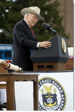 "Vice President Dick Cheney addresses graduates of the U.S. Coast Guard Academy, Wednesday, May 21, 2008, during commencement ceremonies in New London, Conn. ""Today you're the same men and women you were four years ago -- only better,"" said the Vice President. ""With you in the officer corps, it'll be the same Coast Guard -- only better. So this day of your commissioning is more than a memorable day in your own life -- it's a great day for the Coast Guard, and for the United States of America."" White House photo by David Bohrer"