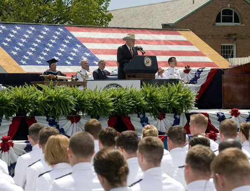 Vice President Dick Cheney addresses graduates of the U.S. Coast Guard Academy, Wednesday, May 21, 2008, in New London, Conn. White House photo by David Bohrer
