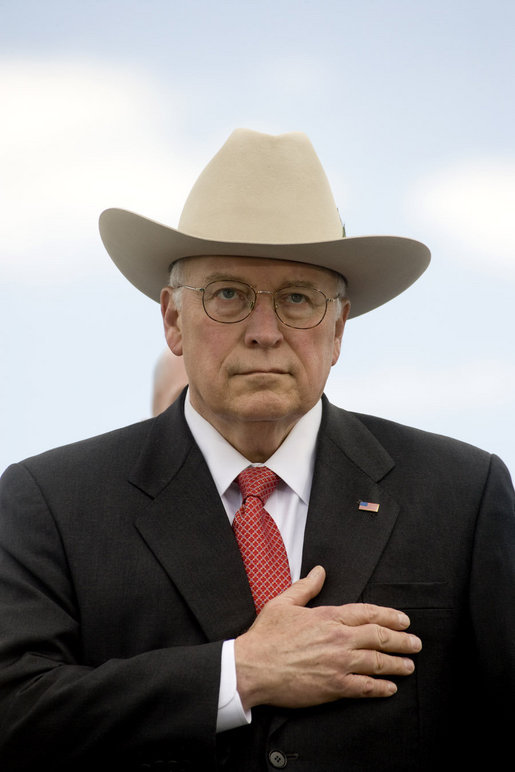 Vice President Dick Cheney stands with hand over heart for the playing of the national anthem, Wednesday, May 21, 2008, during the U.S. Coast Guard Academy commencement ceremony in New London, Conn. White House photo by David Bohrer