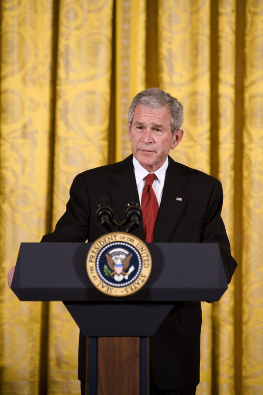 President George W. Bush delivers remarks on Cuba Wednesday, May 21, 2008, during a Day of Solidarity with the Cuban People. The commemoration, held in the East Room of the White House, was held to coincide with a period in Cuban history that marks the Cuban Independence Day, the death of Jose Marti and the death of Pedro Luis Boitel, the day seeks to focus international attention on the denial of fundamental freedoms to the Cuban people. White House photo by Chris Greenberg
